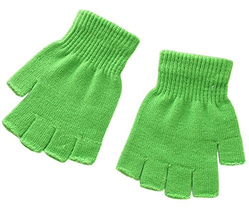 X&F Boys' and Girls' Solid Knitted Half Finger Mittens Typing Gloves, Small, Green