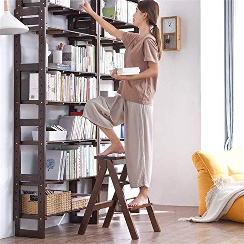 DGSD Klappbare 3-Stufen-Bücherregalleiter Holzleiter Küchentreppenstuhl Haushaltswerkzeughöhe 63 cm 200 kg braun,Brown