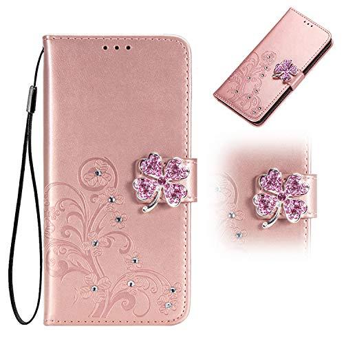 Unichthy Coque pour Samsung Galaxy A72 - Pour filles - Paillettes - Bling - 3D - Strass - Trèfle - Résistant aux chocs - En cuir - Portefeuille - Avec rabat - Avec emplacements pour cartes - Or rose