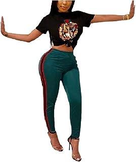 6d00592dc52e7 Women s 2 Piece Outfits Plus Size Black Crop Top High Waist Bodycon Long  Pants Rompers