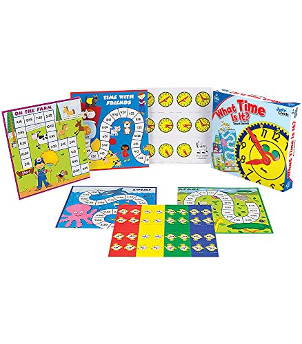 51Yhs9ULSKL - Carson Dellosa What Time Is It? Judy Clock Board Game Set—On The Farm, Time With Friends, Swim, Safari Time-Telling Board Games With Game Cards and Player Pieces, 2-4 Players, Ages 5+