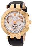 Versace Men's 23C80D002 S009 'V-Race' Rose Gold-Plated Watch with Black Leather Band