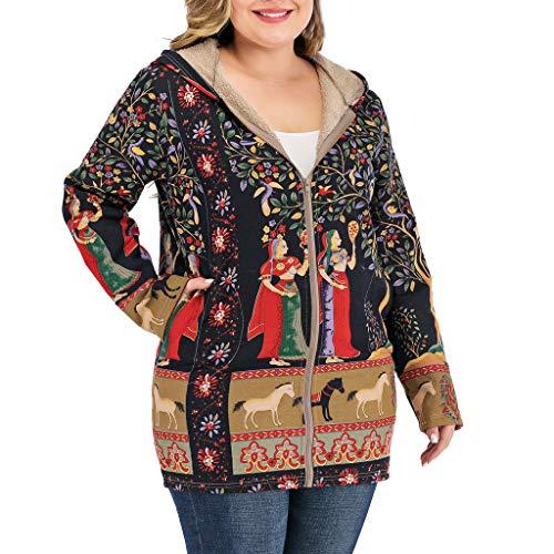 HEVÜY Plus Größe Damen Mit Kapuze Langarm Baumwolle Leinen Flauschigen Pelz Reißverschluss Outwear Mäntel