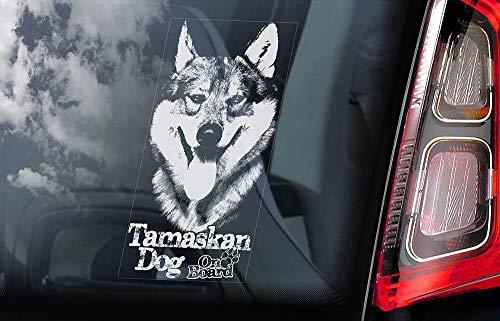 43LenaJon Tamaskan Dog on Board transparenter Aufkleber für Autofenster, Tam Husky Schild Aufkleber