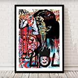 HUANGXLL Audrey Hepburn Graffiti Art Poster Pop Art Prints Pinturas de Lienzo Modernas Cuadro de Arte de Pared para Sala de Estar Decoración del hogar-50x70cm-Sin Marco