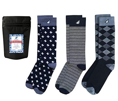 Mens Formal Black White Dress Socks Fun Tuxedo Gift 3-Pack Awesome, Made in USA,Formal Black & White,US Men 8-13, Women 9-15
