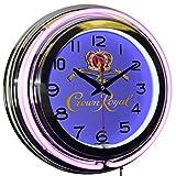 Crown Royal Whisky Logo Purple Double Neon Advertising Clock Man Cave Bar Decor