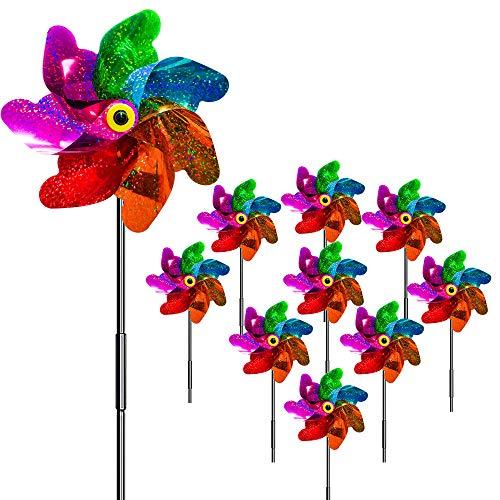 munloo 10 Stücke Windräder Vogelabwehr, Vogelabweisende Reflektierende Windmühle Anti-Vögel to Protect Garten,Obstgarten,Hof (Mehrfarbig)