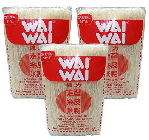[ 3x 400g ] WAI WAI BRAND Reisnudeln / Rice Vermicelli 0,5mm / Orientel Style