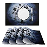 Nuovoware Mantel de Halloween Individual [4 PCS], 30 x 45 cm Salvamanteles Mantelería Lavable Antimancha Antideslizante Resistente Calor Impermeable para Fiesta Hogar - Árbol & Luna