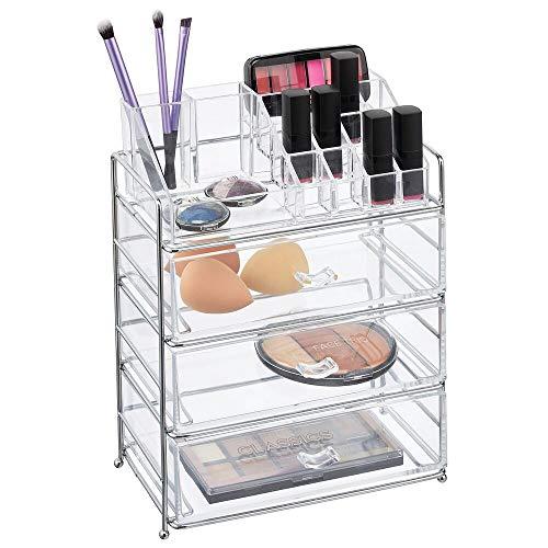 mDesign - Make-up organizer - cosmetica-organizer/make-up houder - met 16 compartimenten en 3 lades - voor lippenstift/nagellak/oogschaduw/kwasten en meer - chroom/doorzichtig