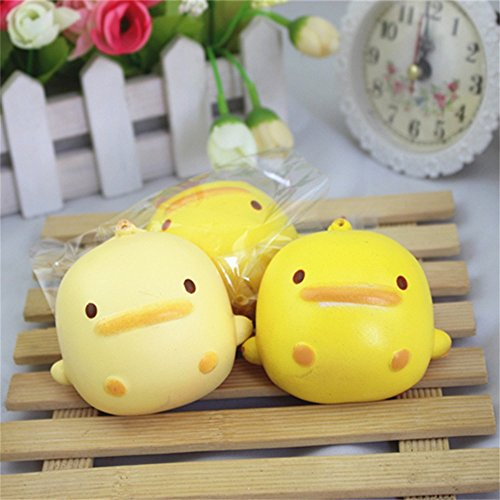 Sensory Toy, Darkduke Squeeze Toy Super Soft Squishy Cute Yellow Duck Bread Phone Straps Slow Rising Bun Charms Gifts Toys, Squishies Stress Relief Toys, Party Favors for Kids for Birthday Gift
