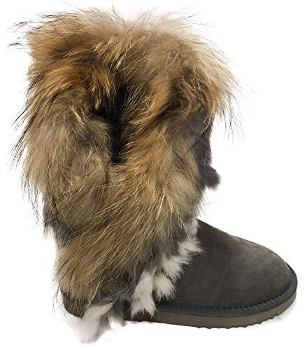 OOG Boots Fell Pelz Langstiefeln echtes Leder Schuhe Winterstiefeln Boot Qualitätsschuhe (37 EU, Grau)