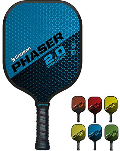 GAMMA Sports 2.0 Phaser Pickleball Paddle: Mens and Womens Textured Fiberglass Face Pickle-Ball Racquet - Indoor and Outdoor Racket: Blue, ~7.9 oz