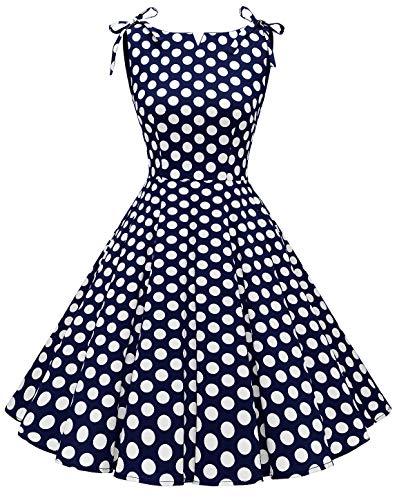 MUADRESS 1958 Vestidos Verano de Fiesta Mujer Elegante 1950s Pin Up Vintage Falda Retro Cóctel Rockabilly Clásico Punto Blanco Azul Marino B 3XL