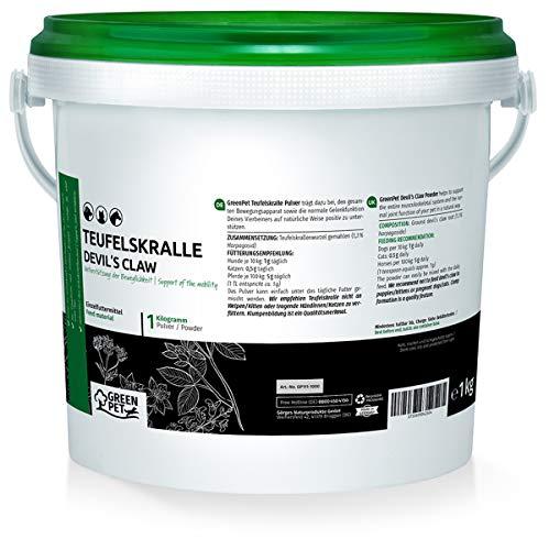 GreenPet Teufelskralle 1 kg Teufelskrallenpulver Teufelskrallenwurzel - Zur Unterstützung agiler Gelenke und der Beweglichkeit bei Hunden Katzen und Pferde