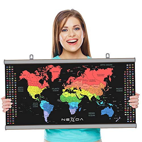 Scratch Off Map of the World with Frame By Nexda - 33x17 Inch Colorful Hanging Poster - USA Canada China Brazil And Australia Individual States and territories - Country Flags - Scratching Accessories