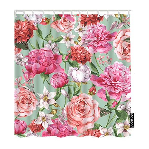 DFSDFSA Floral Shower Curtain Set Watercolor Pink Peony Rose Flower wi