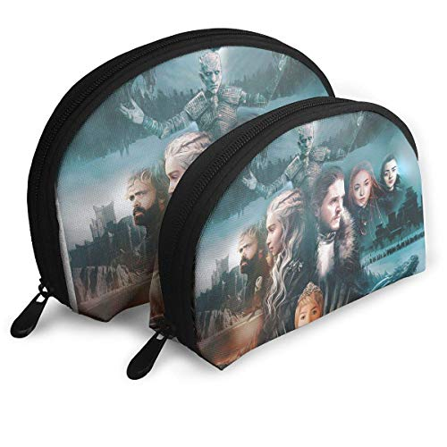 Game-of-Thrones-Season-8 Poster Kosmetiktaschen Kulturbeutel Make-up Tasche Reise Pinsel Aufbewahrungstasche mit Reißverschluss für Damen/Mädchen