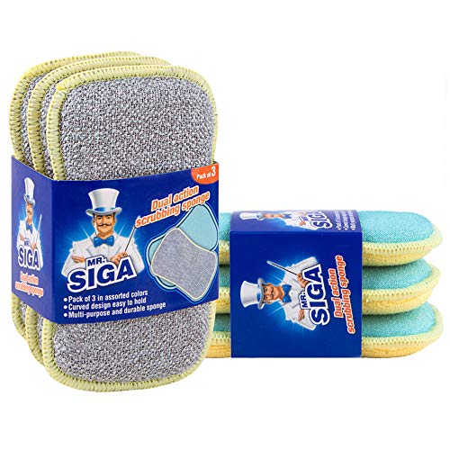 MR.SIGA Dual Action Scrubbing Sponge, Pack of 6, Size:17x10x2.3cm
