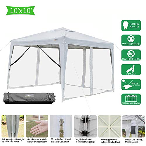 VINGLI EZ POP UP Canopy,10ft x 10ft Folding Tent with 4 Removable Mesh Sidewalls & Rolling Bag,Portable Gazebo/Screen House Room in Garden Camping Party,Anti-Mosquito 99% Anti-UV,White