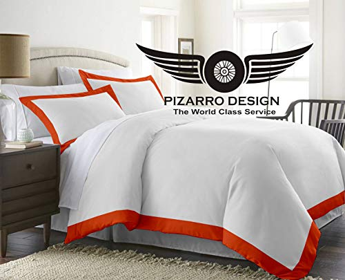 PIZARRO DESIGN 1000-TC Hypoallergenic Ultra Soft design 100% Egyptian Cotton 54x80 inch UK Single Size Orange Solid Duel Tone Duvet Cover With Zipper Closure & 2pcs Pillow Case Set