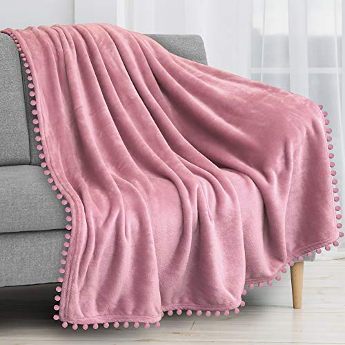 PAVILIA Pom Pom Blanket Throw Twin, Blush Light Pink | Soft Fleece Pompom Fringe Blanket for Couch Bed Sofa | Decorative Cozy Plush Warm Flannel Velvet Tassel Throw Blanket, 60x80