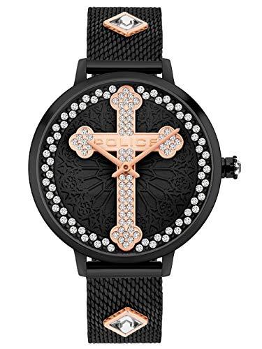 Police Unisex Erwachsene Analog Quarz Uhr mit Edelstahl Armband PL16031MSB.02MMA