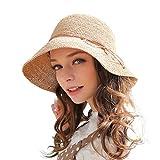 Hasey Sombrero de verano para mujer, tejido a mano, plegable, 100 % rafia