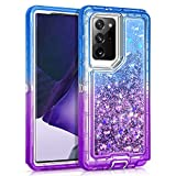 WESADN Case for Galaxy Note 20 Ultra Case Glitter Girls Women Heavy Duty Shockproof Protective Cover Gradient Clear Shell with Sparkle Quicksand Case for Samsung Galaxy Note 20 Ultra 5G Blue Purple