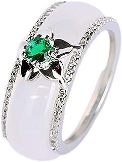 yigedan 3pcs Natural Agate Green Jade Gemstone Band Ring