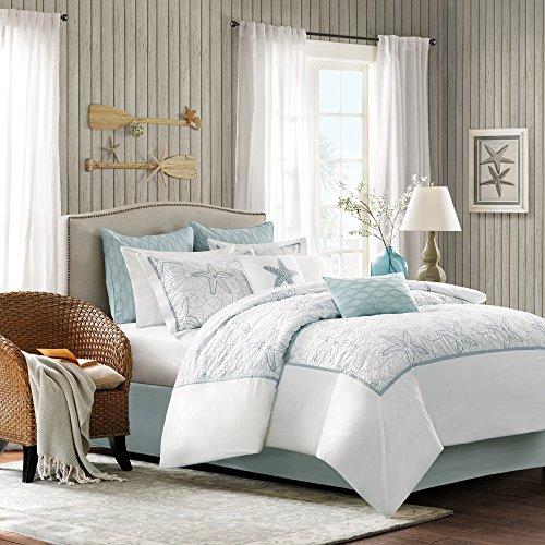 Harbor House Maya Bay Tagesdecken-Set, Baumwolle, Bestickt, Übergröße, Weiß, 4-teilig