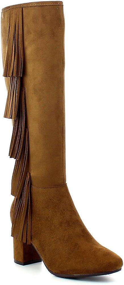 Refresh City-02 Women's Almond Toe Side Zip Fringe Chunky Heel Knee high Suede Boots