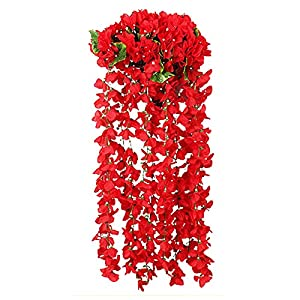 Artificial Violet Flower, Fake Violet Flower Wall Wisteria Vine Simulation Rattan Plant Wedding Home Balcony Wall Traling Floral Decoration (B-2PCS Red Flowers)