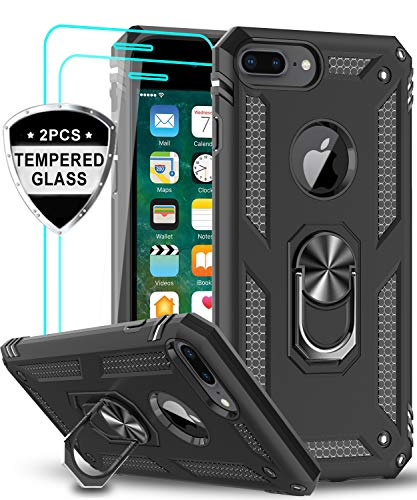 LeYi iPhone 8 Plus / 7 Plus / 6 Plus / 6s Plus Case with Tempered Glass Screen Protector [2Pack], Military Grade Phone Case with Car Mount Ring Kickstand for Apple iPhone 8/7/6/6s Plus, Black