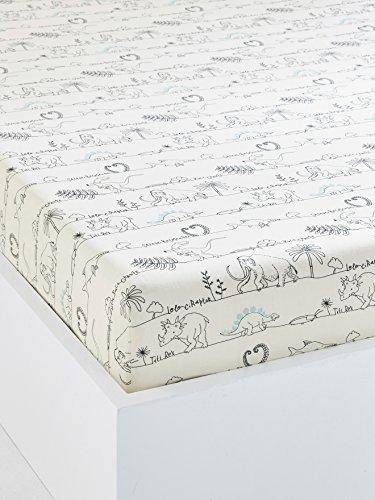 Vertbaudet Dinorama Kinder-Spannbetttuch, Baumwolle, Blanc Imprimé, 90 x 200 cm