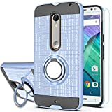 Ymhxcy for Moto X Pure Edition(Moto X Style) Case with HD Phone Screen Protector,360 Degree Rotating Ring & Bracket Dual Layer Resistant Back Cover for 2015 Motorola Moto X Style XT1575-ZH Metal Slate