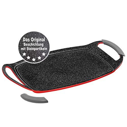 Stoneline 16397Plancha de Cocina Placa de Parrilla de inducción, Aluminio, Rojo, 36x 23cm