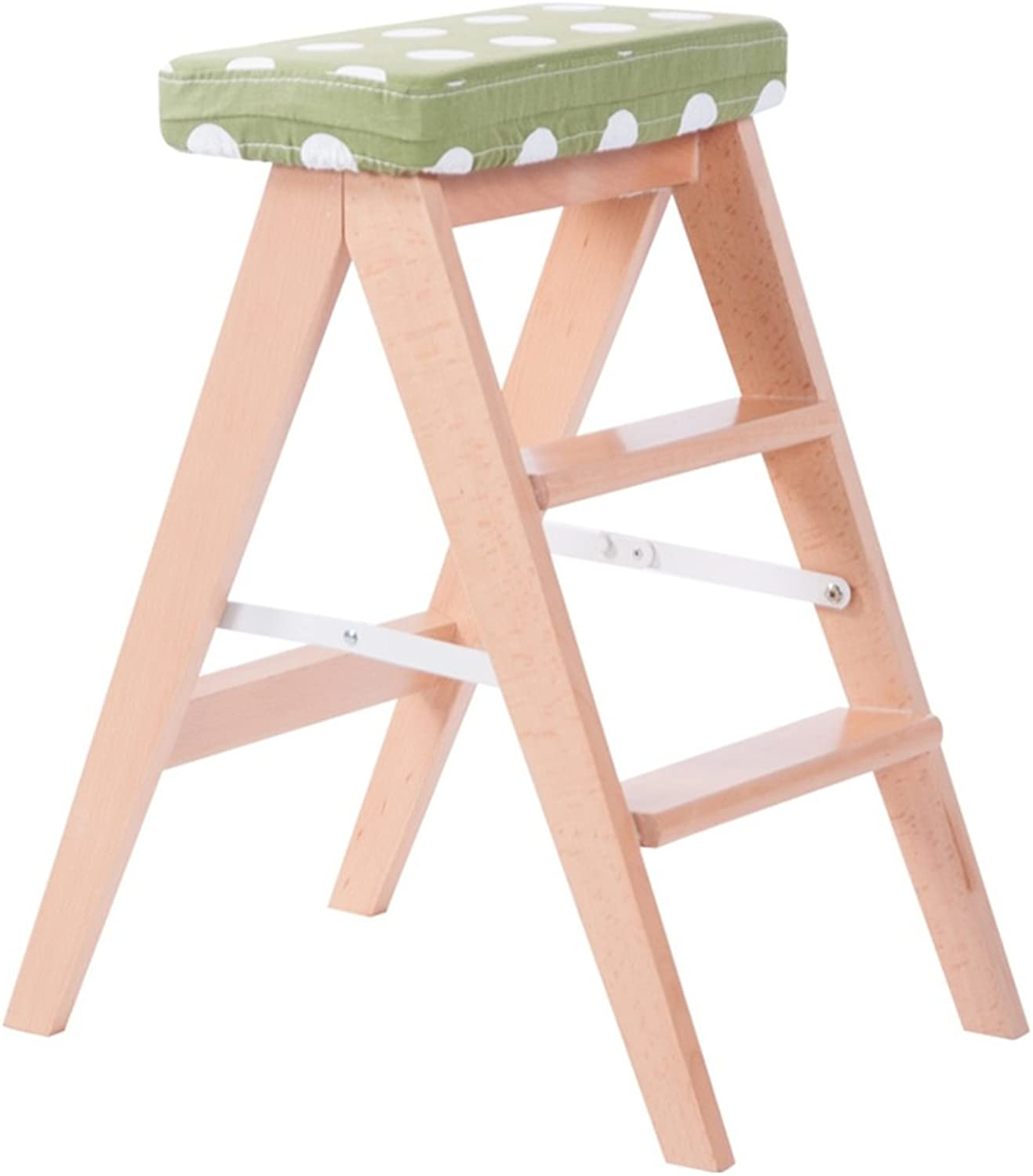 Step Stool Wood,Bed Steps Plant Stand Wood Ladder Chair Multifunctional Wooden Ladder Chair Foldable Shelving Ladder with 2 3Steps for Home Decoration and Library (color    3)