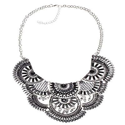 SUMAJU Statement Necklace, Bohemian Tassel Collar Bib Necklace Pendant Ethnic Tribal Beads Chain Necklace