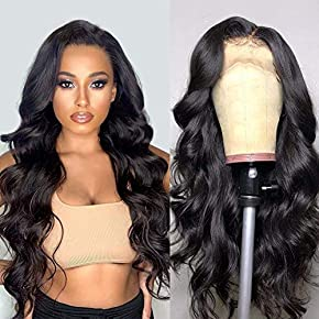Lace Front Human Hair Wigs for Women Pre Plucked Hairline 150% Denisty Brazilian Body Wave Lace Front Wigs with Baby Hair Natural Color (20Inch, 150% denisty)