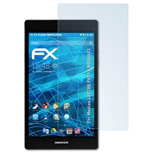 atFolix Schutzfolie kompatibel mit Medion LIFETAB P8311 MD99443 Folie, ultraklare FX Displayschutzfolie (2X)