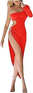 فستان سهرة مثير للسيدات، كتف واحد مجوف للخارج فستان قصير قصير قصير