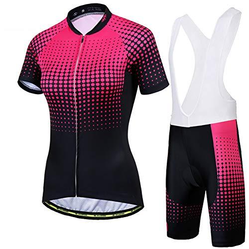 W&TT Damen Radtrikot Anzüge Sommer Kurzarm Fahrradhemd + 3D Gel gepolsterte REIT Trägerhose Schnelltrocknendes MTB Reitoutfit für Outdoor Sport,Black d,XL
