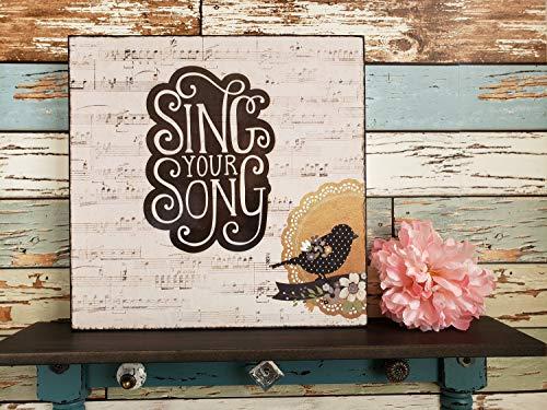Ced454sy zingen uw lied frame muur kunst hout teken inspirerende citaat plank decor zwart wit vogel verjaardag cadeau haar gift vrouw gift meisje