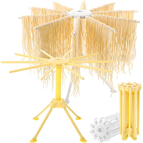 2 Pieces Handmade Pasta Drying Rack Collapsible Noodle Maker Hanging Stand Spaghetti Dryer Holder Rack with 10 Bar Handles for Kitchen Noodles Making White and Yellow