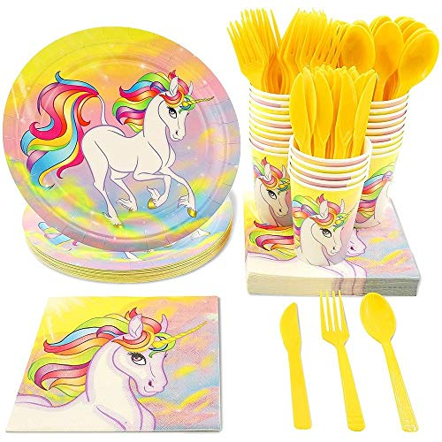 Rainbow Unicorn Party Bundle with Plates, Napkins, Cups, and Cutlery (Serves 24 Guests; 144 Total Pieces)
