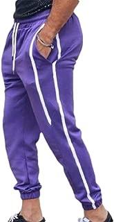 MogogoMen Slim-Tapered Stripe Waistband Stretchy Original Fit Jogger Pants