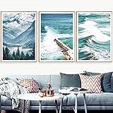 HJKLP Carteles e Impresiones del mar de montaña Cuadro Mural de Bosque Paisaje Arte de la Pared Cuadro en Lienzo Decoraciones Mural para Sala de Estar Dormitorio 40x60cmx3 Sin Marco