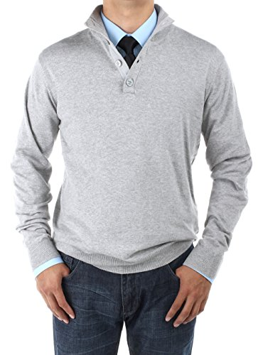 Luciano Natazzi Men's Mock Neck Elbow Patch Quarter Button Sweater Relaxed Fit (XXX-Large, Light Gray)